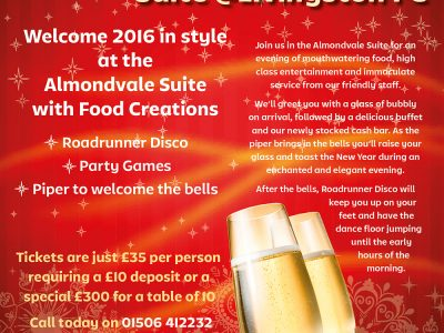Hogmanay at The Almondvale Suite poster
